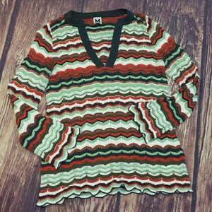 M Missoni V-neck chevron red green pullover size 4